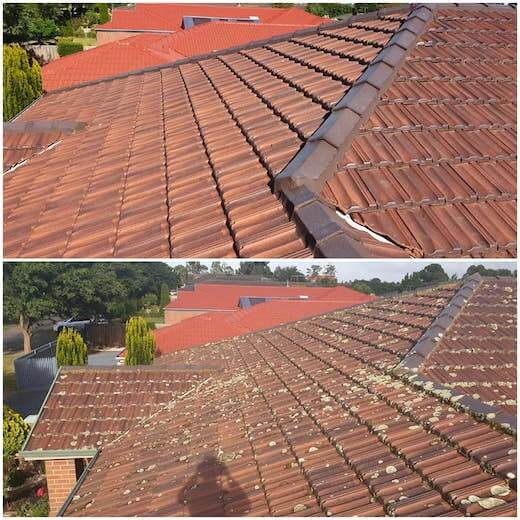 before and after, tiled roof restoration before and after